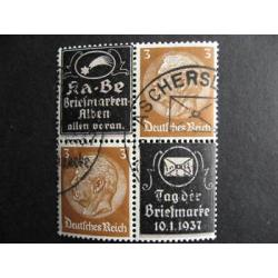 Germany KA-BE, 10.1.1937 stamp day overprinted,block 4 (crease, perf separation)