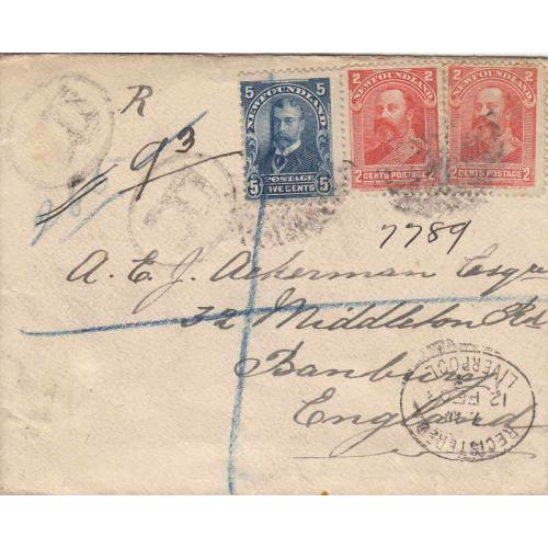 Newfoundland #82, 85 Registered Cover to England