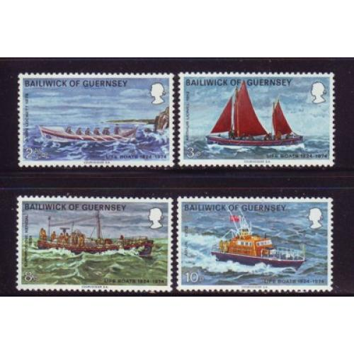 Guernsey Sc 91-94 1974 Lifeboats stamp set mint NH