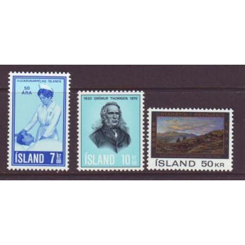 Iceland Sc 422-24 1970  Anniversaries stamp set mint NH