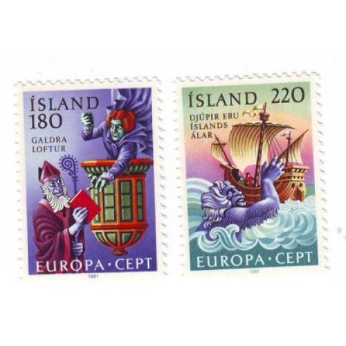 Iceland Sc 541-542 1981 Europa stamp set mint NH