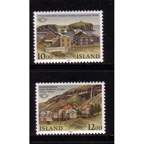 Iceland Sc 624-25 1986 Nordic Cooperation Sister Towns stamp  set  mint NH