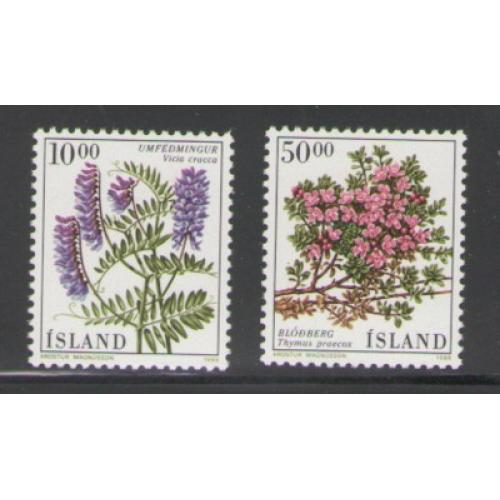 Iceland Sc 663-64 1988 Flowers stamp set mint NH