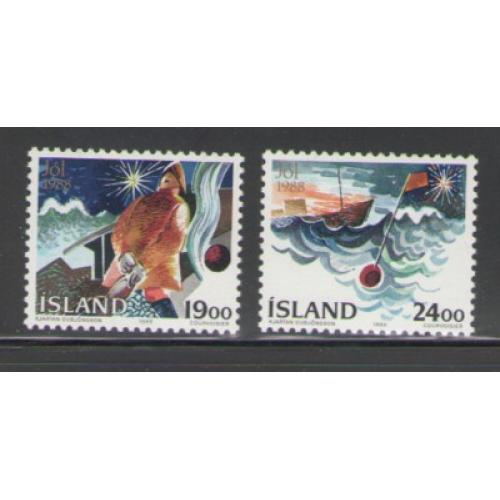 Iceland Sc 669-670 1988 Christmas stamp set mint NH