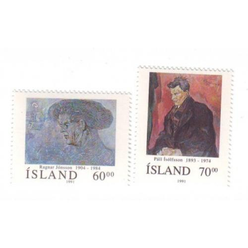 Iceland Sc 743-44 1991 Paintings  stamp set mint NH