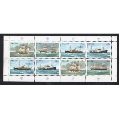 Iceland Sc 745 1991 Ships stamp sheet of 8 mint NH