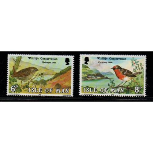 Isle of Man Sc 182-83 1980 Christmas Wildlife Conservation stamp set mint NH