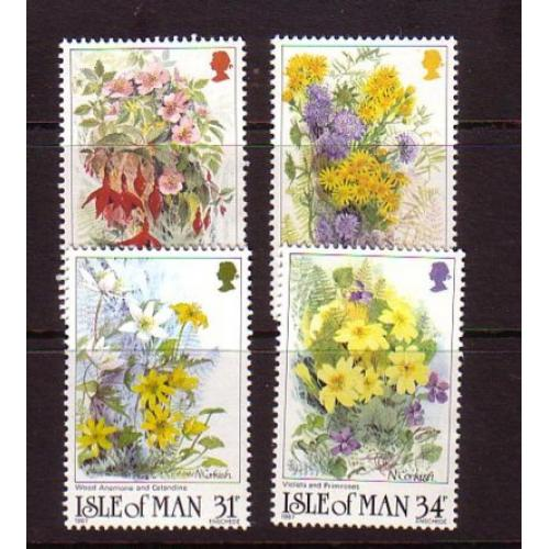 Isle of Man Sc 340-43 1987 Flowers stamp set mint NH
