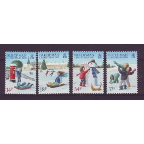 Isle of Man Sc  436-39 1990 Christmas stamp set mint NH