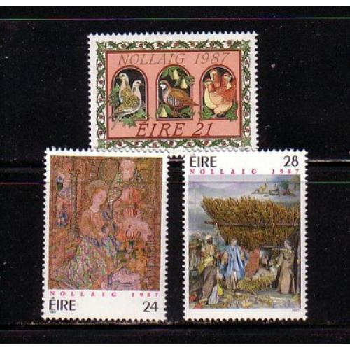 Ireland Sc 703-5 1987 Christmas stamp set mint NH