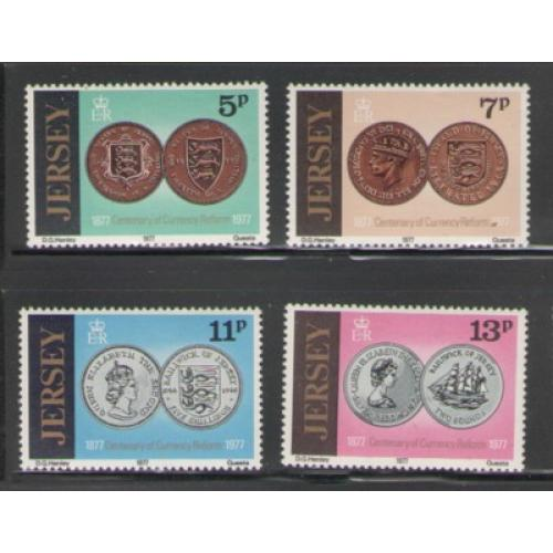 Jersey Sc  171-74 1977 Currency Reform stamp set mint NH