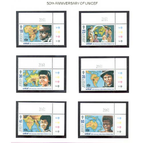 Jersey Sc 740-45 1996 50th Anniversary UNICEF stamp set mint NH