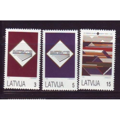 Latvia Sc  349-51  1993 Song Festival stamp set mint NH