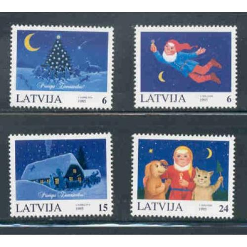 Latvia Sc 409-12 1995 Christmas stamp set mint NH