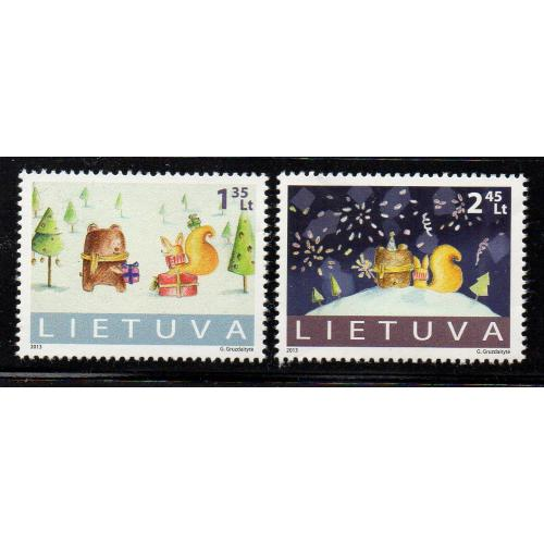 LIthuania Scott 1013-14 2013 Christmas stamp set  mint NH