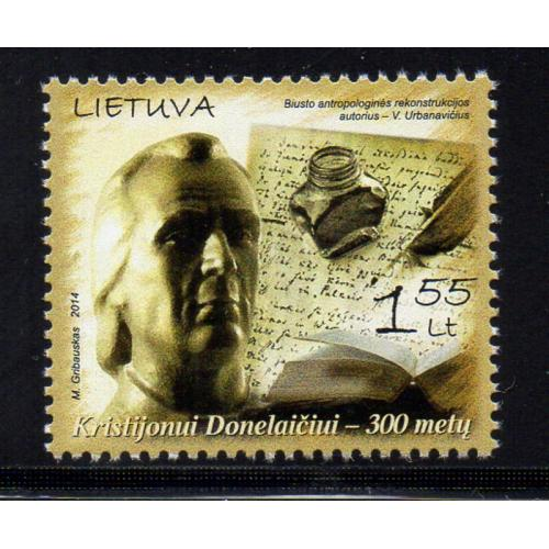 LIthuania Scott 1015 2014 Donelaitis, Poet, stamp  mint NH