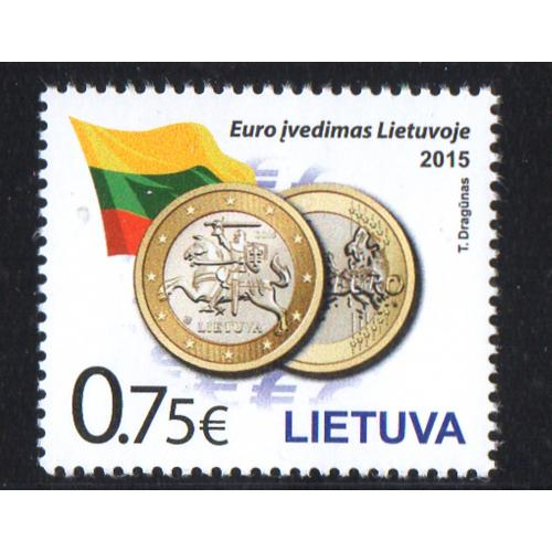 LIthuania Scott 1038 2015 Introduction of Euro stamp mint NH