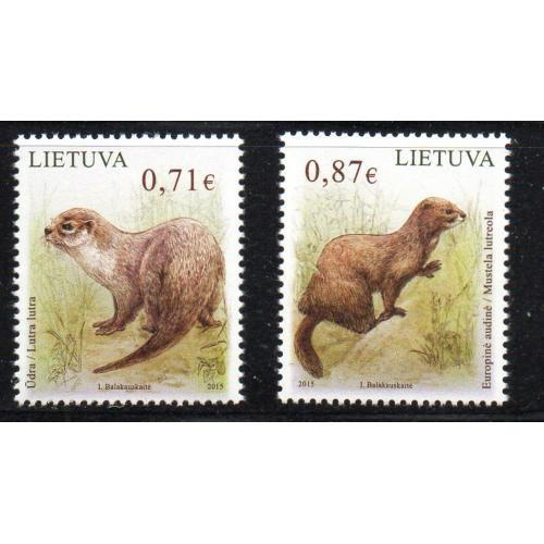 LIthuania Scott 1045-46 2015 Endangered Animals stamp set mint NH