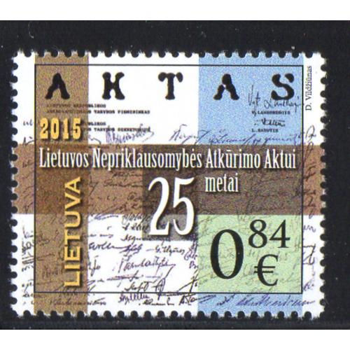 LIthuania Scott 1048 2015 25th Anniversary Independence stamp mint NH
