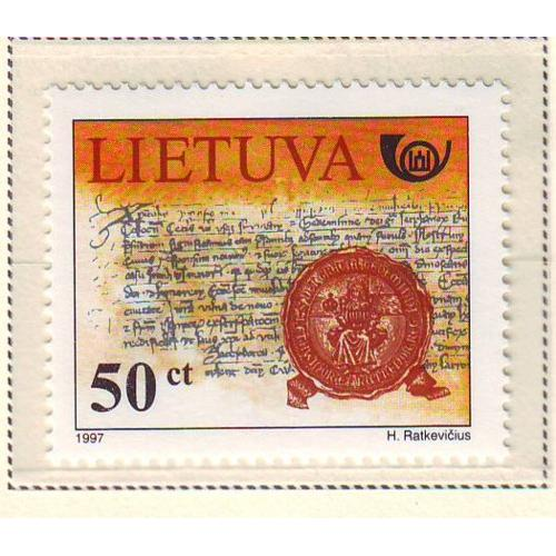 Lithuania Sc  585 1997 Letters of Gediminas stamp mint NH