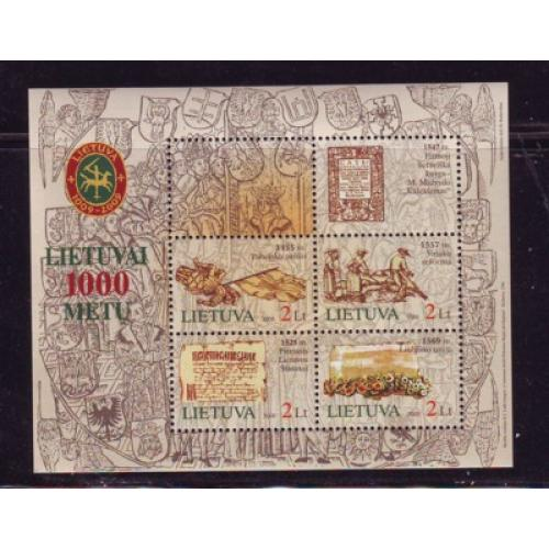 Lithuania Sc 794 2005 1000th Anniversary stamp sheet mint NH