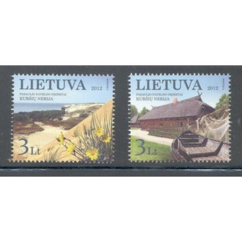 Lithuania Sc 976-7 2012 UNESCO Curonian Spit site stamp set mint NH