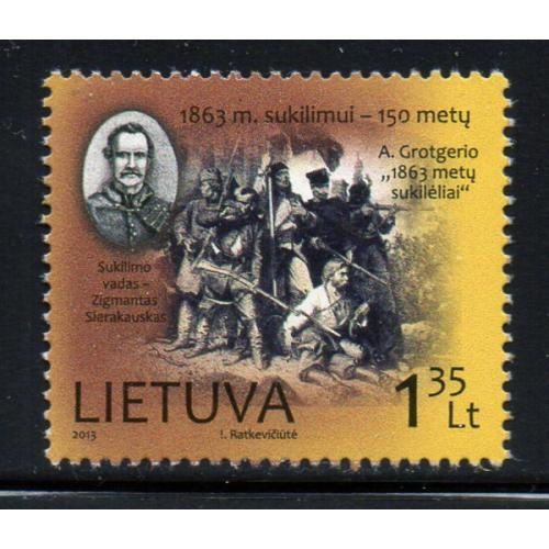 Lithuania Sc 995 2013 1863 Uprising stamp mint NH