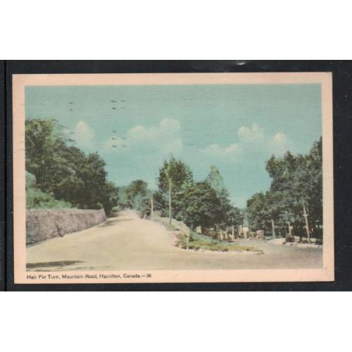Hamilton Ont colour PC Hairpin Turn Mountain Road used 1948