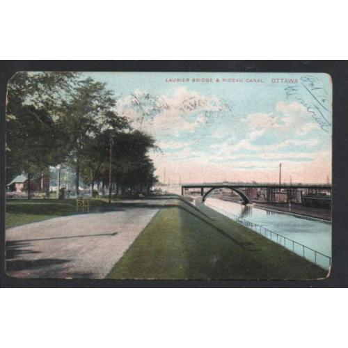 Colour PC Laurier Bridge & Rideau Canal Ottawa  used 1906
