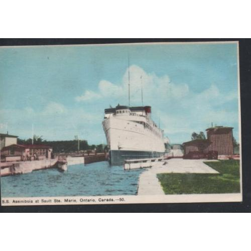 Colour PC  SS Assiniboia at Sault Ste Marie, Ontario unused