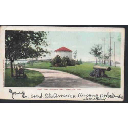 Colour PC  Mac Donald Park, Kingston Ont undivided back used 1905