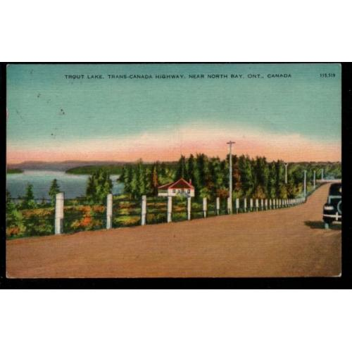 Colour Valentine Black PC  Trout Lake near North  Bay Ontario used 1945?