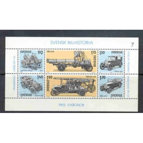 Sweden Sc 1334 1980 Swedish Automobiles stamp sheet mint NH