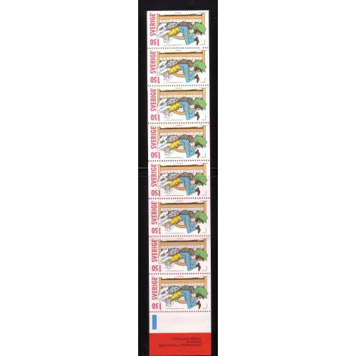 Sweden Sc 1338a 1980 Christmas Comic Characters stamp booklet pane mint NH