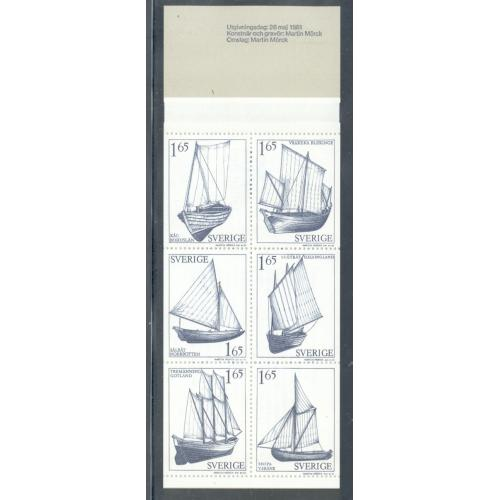 Sweden Sc  1365a 1981 Sailboats stamp booklet  mint NH