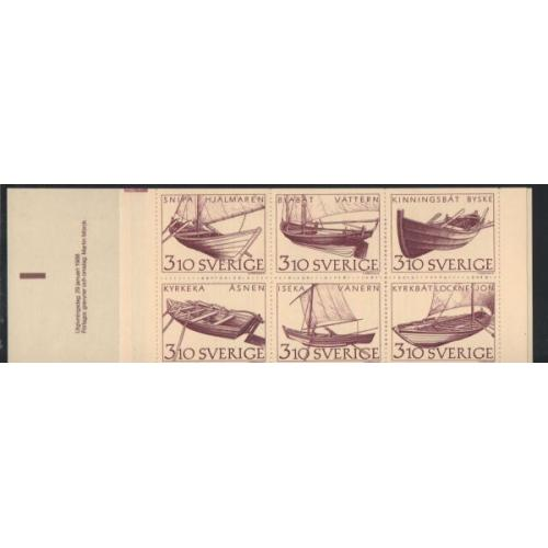 Sweden Sc  1671a 1988 Inland Boats stamp booklet  mint NH