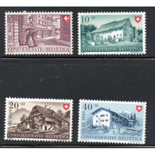 Switzerland Sc B183-86 1949 Houses Charity stamp set mint NH