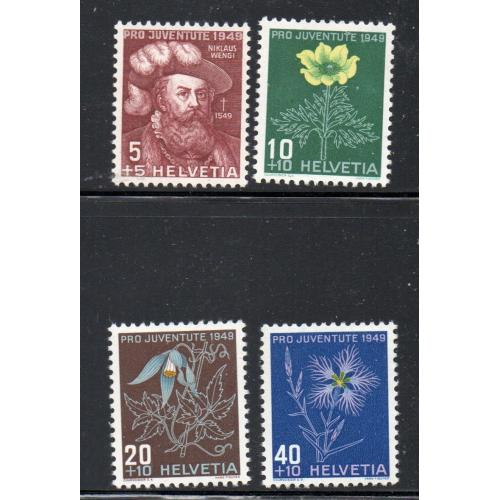 Switzerland Sc B187-90 1949 Pro Juventute Flowers stamp set mint NH
