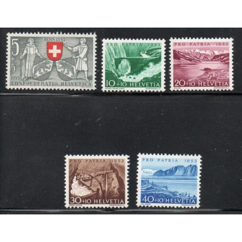 Switzerland Sc B222-26 1953 Pro Patria Views stamp set mint NH