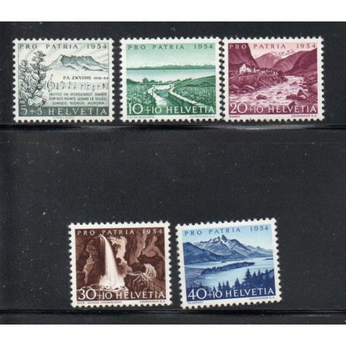 Switzerland Sc B232-36 1954 Pro Patria, views, stamp set mint NH