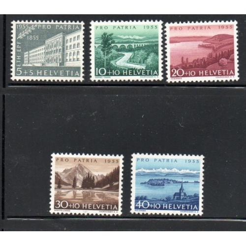 Switzerland Sc B242-46 1955  Pro Patria, views, stamp set mint NH