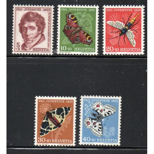 Switzerland Sc B247-51 1955  Pro Juventute, Insects, stamp set mint NH