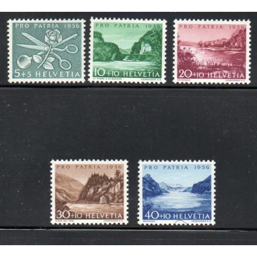 Switzerland Sc B252-56 1956  Pro Patria, views, stamp set mint NH